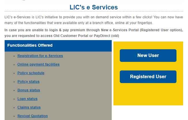LIC online registration