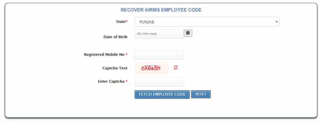 IHRMS Punjab employee code