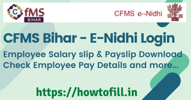 CFMS Bihar E-Nidhi Login