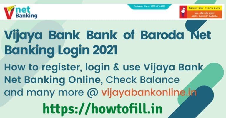 Vijaya Bank NET Banking Login 2021